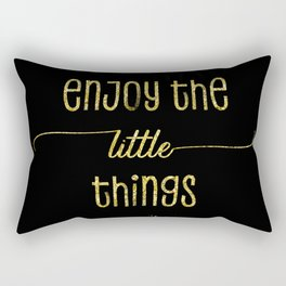 TEXT ART GOLD Enjoy the little things Rectangular Pillow