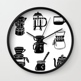 Coffee linocut square pattern coffee lover minimal black and white printmaking gift Wall Clock
