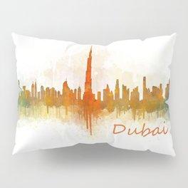 Dubai, emirates, City Cityscape Skyline watercolor art v3 Pillow Sham