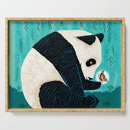 The Panda and The Butterfly - turquoise version Serving Tray