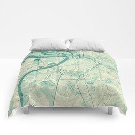 Antwerp Map Blue Vintage Comforters