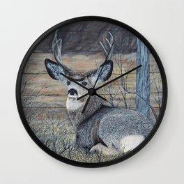 Mule Deer in the Brush Wall Clock