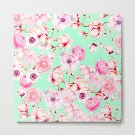 Girly Blush Pink Floral Pattern on Mint Green Metal Print