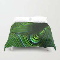 malachite Duvet Covers featuring Malachite by Vix Edwards - Fugly Manor Art