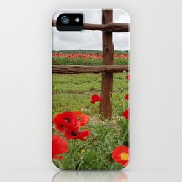 Poppies with Cedar Fence iPhone Case