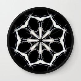 Icelandic // Geometric Black White Sacred Geometry Flower Life Peace Healing Energy Star Circle Wall Clock