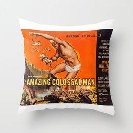 Colossalman, vintage horror movie poster Throw Pillow