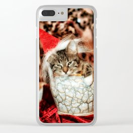 Christmas Kitten Clear iPhone Case