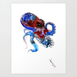 Octopus blue red octopus artwork deep blue navy blue burgundy red sea world beach Art Print