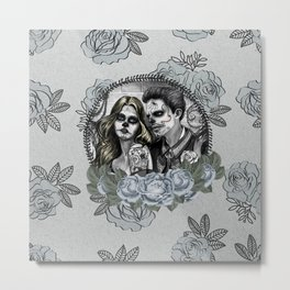 Day Of The Dead , Silver Rose Skulls Metal Print