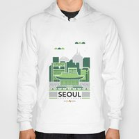 seoul Hoodies featuring City Illustrations (Seoul, South Korea) by Nuthon Design