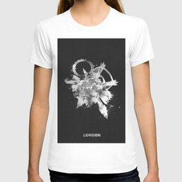 London, United Kingdom Black and White Skyround / Skyline Watercolor Painting (Inverted Version) T-shirt