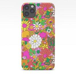 60's Groovy Garden in Neon Peach Coral iPhone Case