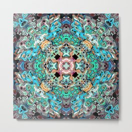 Symmetrical Turquoise Abstract Metal Print