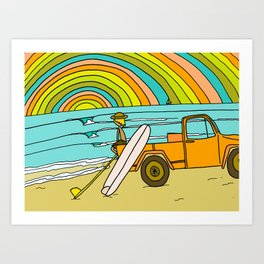 Retro Surf Days Single Fin Pick Up Truck Art Print
