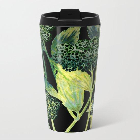 Dark floral with golden accent Metal Travel Mug