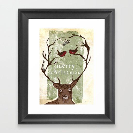 Reindeer Mistletoe Christmas Card Framed Art Print
