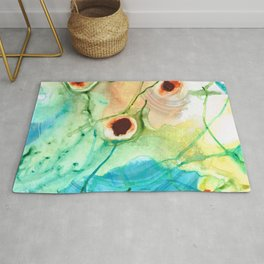 Blue And Yellow Abstract Art - Life Goes On - Sharon Cummings Rug