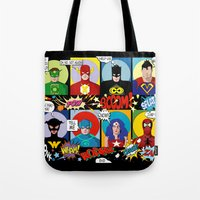 superheroes Tote Bags featuring Superheroes by Chicca Besso