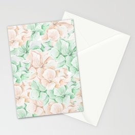 Pastel green coral hand painted watercolor elegant floral Stationery Cards