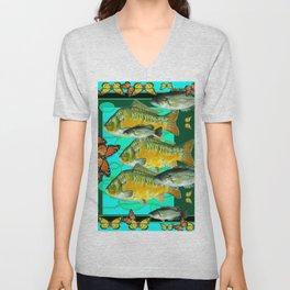 MONARCH BUTTERFLIES OCHER  FISH TURQUOISE BLUE ART Unisex V-Neck