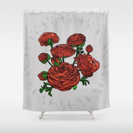 Doves and Red Roses Shower Curtain