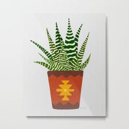 Potted Zebra Cactus House Plant, Modern Hand-painted Acrylic Plants in Colorful Tribal Bohemian Pots Series Metal Print