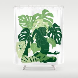One-Legged King Pigeon Pose Shower Curtain