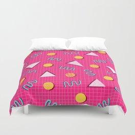 Geometric Memphis in Pink Duvet Cover