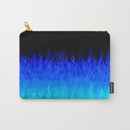 Blue Black - Retro Old School Hot Rod Flames Carry-All Pouch