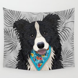 Happy Border Collie Boy Wall Tapestry