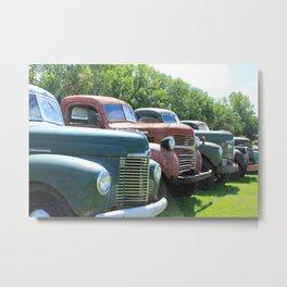 Antique Trucks in a Row Metal Print