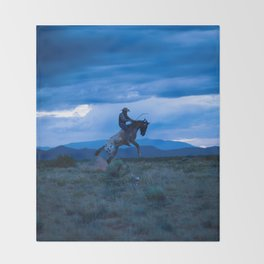 Santa Fe Cowboy Being Bucked Off Throw Blanket