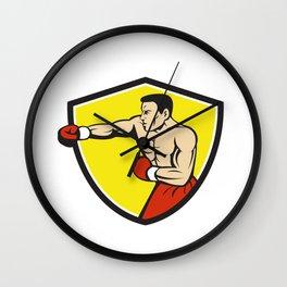 Boxer Jabbing Punching Crest Cartoon Wall Clock