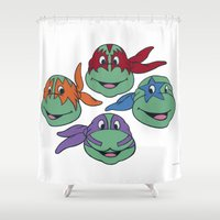 tmnt Shower Curtains featuring TMNT KISS by Jared Yamahata