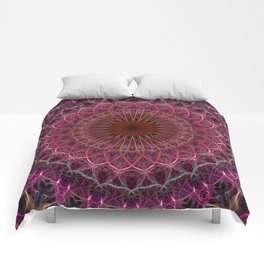 Pretty dark and light pink mandala Comforters