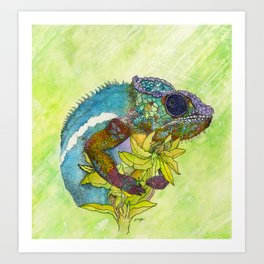 Colorful Chameleon Art Print