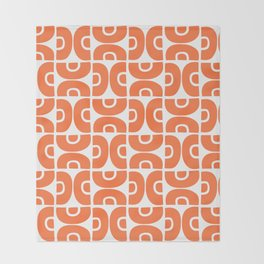 Groovy Mid Century Modern Pattern Orange Throw Blanket