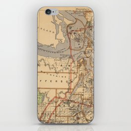 Vintage Map of The Puget Sound (1876) iPhone Skin