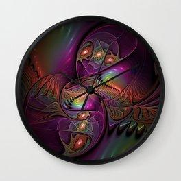 Colorful Lights, Abstract Fractal Art Wall Clock