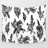 noir Wall Tapestries featuring fleur noir by Estelle F