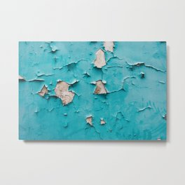 Old urban blue wall with cracked and grunge texture, weathered concrete structure. Metal Print
