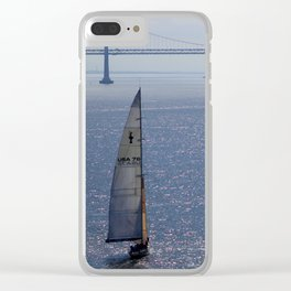 Sailboat in Front of the Golden Gate Bridge Clear iPhone Case