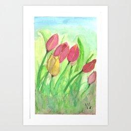 Tulipans (Watercolours) Art Print