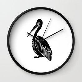 Pelican bird linocut art black and white minimal carving ink Wall Clock