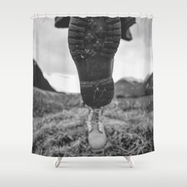 Let's Explore (Black and White) Shower Curtain