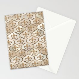 Fleur-de-lis pattern pearl and gold Stationery Cards