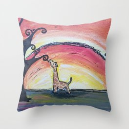 Giraffe Has a Snack Throw Pillow