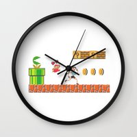 lara croft Wall Clocks featuring Lara Bros by Marina Portela