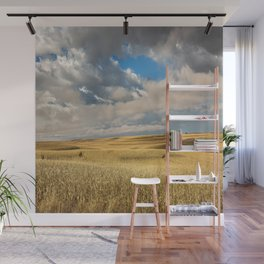 Iowa in November - Golden Corn Field in Autumn Wall Mural